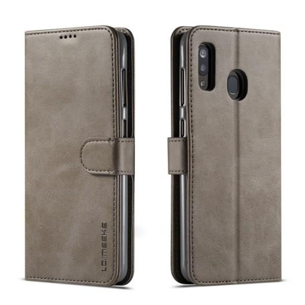 Луксозен кожен флип калъф/тип тефтер за Samsung Galaxy А20, LC.IMEEKE, Сив
