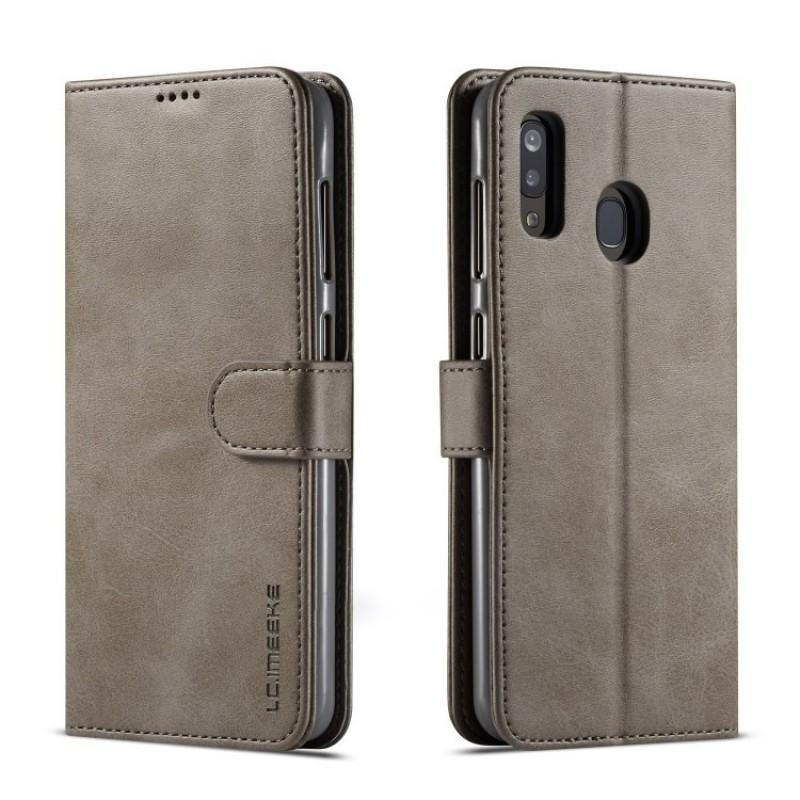 Луксозен кожен флип калъф/тип тефтер за Samsung Galaxy А30, LC.IMEEKE, Сив