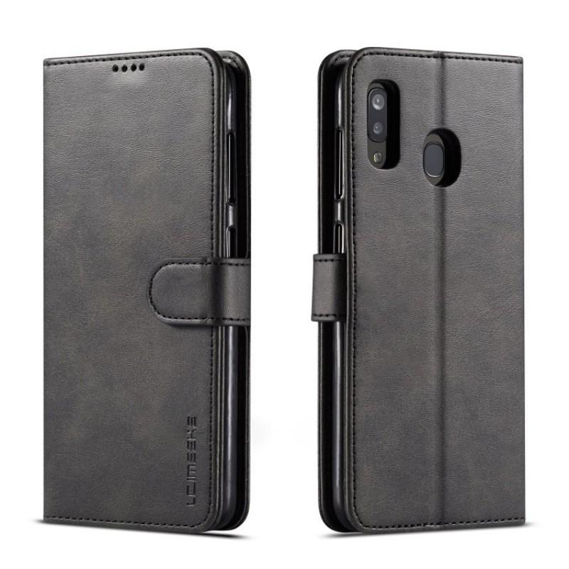Луксозен кожен флип калъф/тип тефтер за Samsung Galaxy А20, LC.IMEEKE, Черен