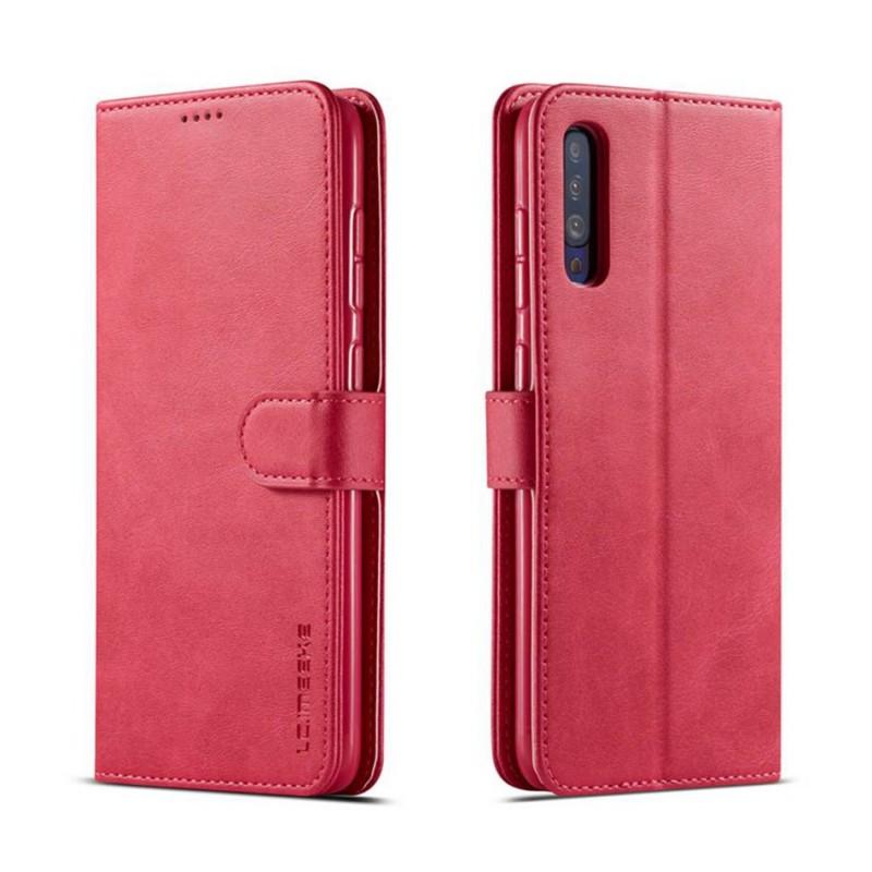 Луксозен кожен флип калъф/тип тефтер за Samsung Galaxy А30s, LC.IMEEKE, Розов