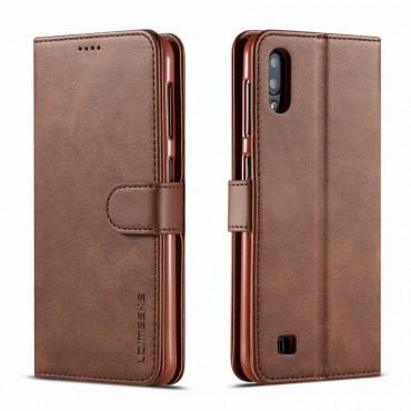 Луксозен кожен флип калъф/тип тефтер за Samsung Galaxy M10, LC.IMEEKE, Тъмнокафяв