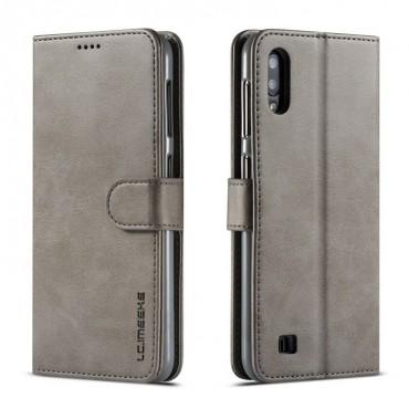 Луксозен кожен флип калъф/тип тефтер за Samsung Galaxy M10, LC.IMEEKE, Сив