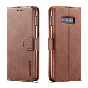 Луксозен кожен флип калъф/тип тефтер за Samsung Galaxy S10e/ S10 Lite, LC.IMEEKE, Тъмнокафяв