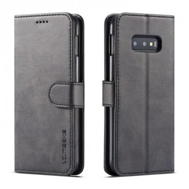Луксозен кожен флип калъф/тип тефтер за Samsung Galaxy S10e/ S10 Lite, LC.IMEEKE, Черен