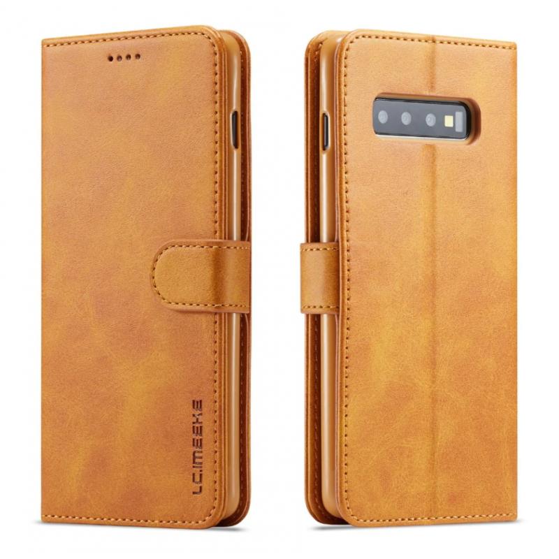 Луксозен кожен флип калъф/тип тефтер за Samsung Galaxy S10, LC.IMEEKE, Светлокафяв