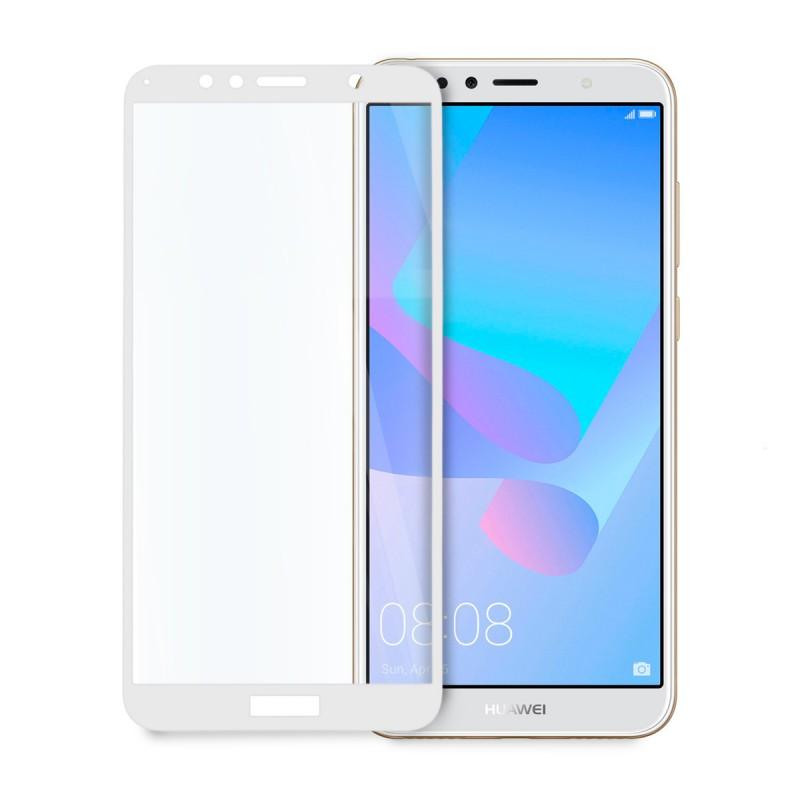 5D стъклен протектор за цял дисплей за Huawei Y6 Pro/Prime (2018), Hicute, Цяло лепило, Бял