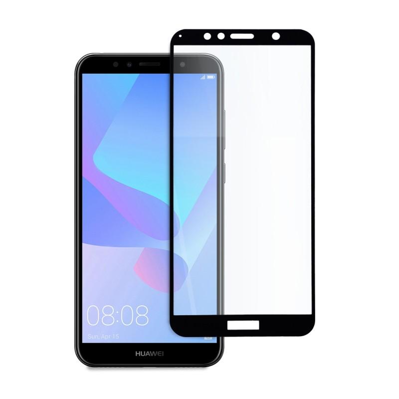 5D стъклен протектор за цял дисплей за Huawei Y6 Pro/Prime (2018), Hicute, Цяло лепило, Черен