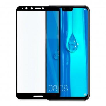 5D стъклен протектор за цял дисплей за Huawei Y9 (2018), Hicute, Цяло лепило, Черен