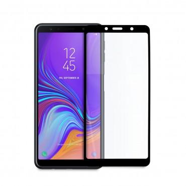 5D стъклен протектор за цял дисплей за Samsung Galaxy А7 (2018), Hicute, Цяло лепило, Черен