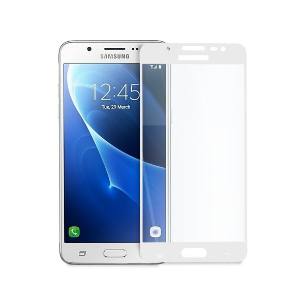 5D стъклен протектор за цял дисплей за Samsung Galaxy J5 (2016), Hicute, Цяло лепило, Бял