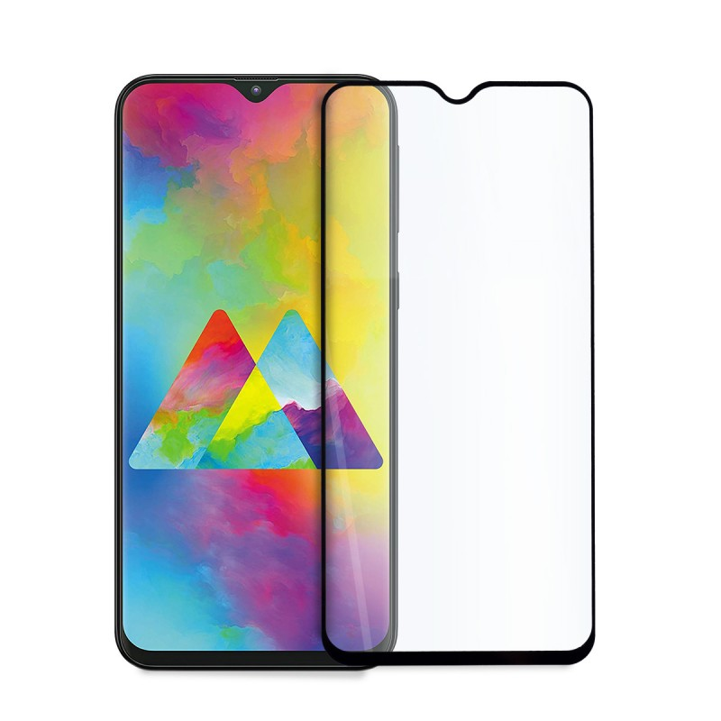 5D стъклен протектор за цял дисплей за Samsung Galaxy M20 (2019), Hicute, Цяло лепило, Черен