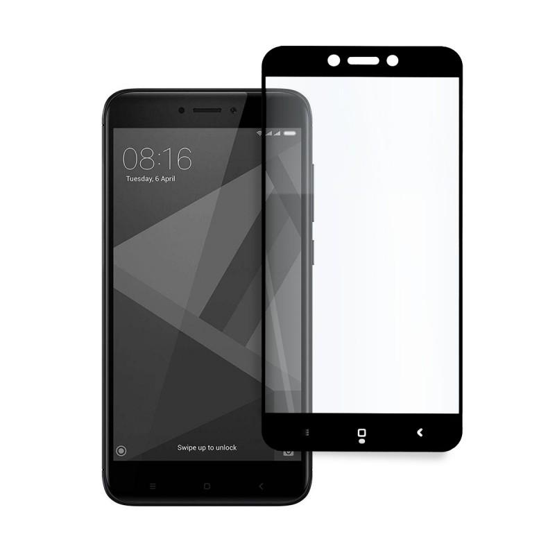 5D стъклен протектор за цял дисплей за Xiaomi Redmi 4/4X, Hicute, Цяло лепило, Черен