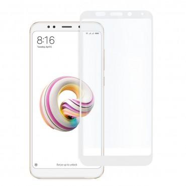 5D стъклен протектор за цял дисплей за Xiaomi Redmi 5 Plus, Hicute, Цяло лепило, Бял