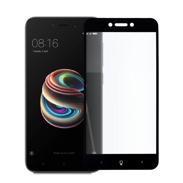 5D стъклен протектор за цял дисплей за Xiaomi Redmi 5A, Tech Armor, Цяло лепило, Черен