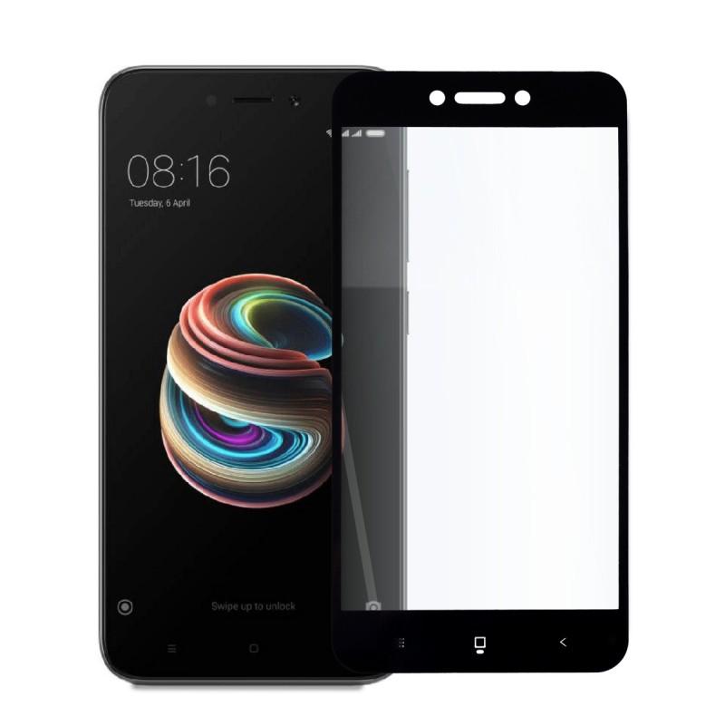 5D стъклен протектор за цял дисплей за Xiaomi Redmi 5A, Hicute, Цяло лепило, Черен