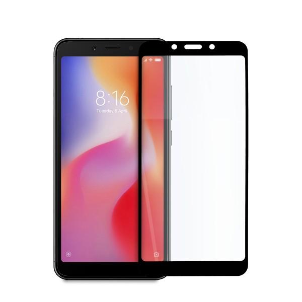 5D стъклен протектор за цял дисплей за Xiaomi Redmi 6/ Redmi 6A, Hicute, Цяло лепило, Черен