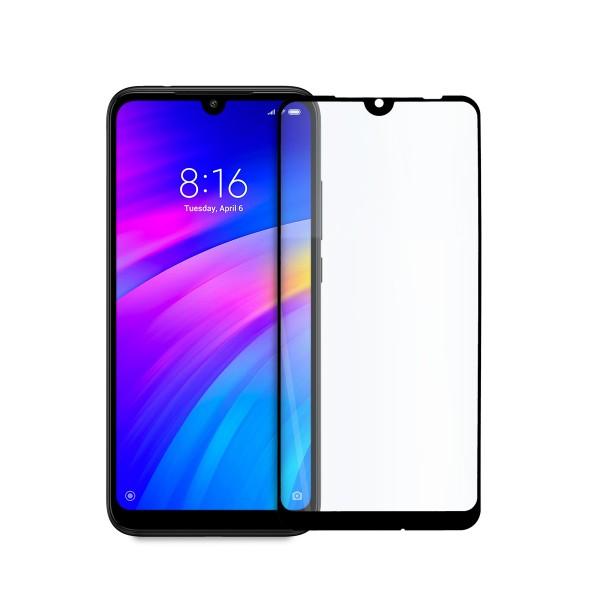 5D стъклен протектор за цял дисплей за Xiaomi Redmi 7, Hicute, Цяло лепило, Черен