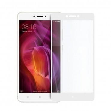 5D стъклен протектор за цял дисплей за Xiaomi Redmi Note 4X, Hicute, Цяло лепило, Бял