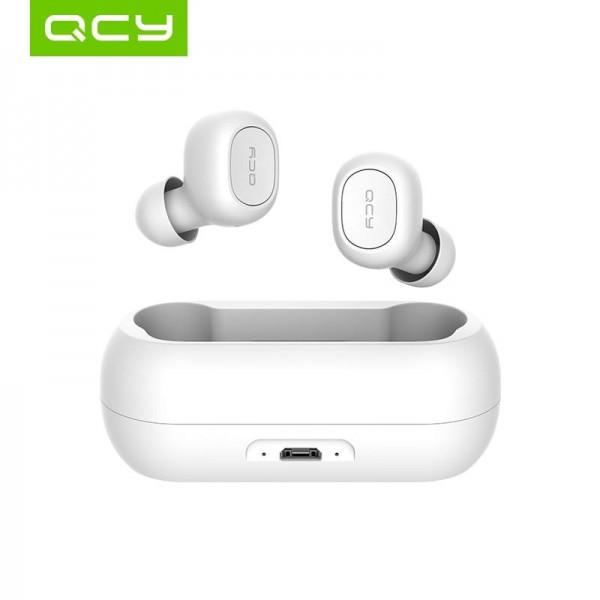 Безжични Слушалки QCY TWS T1C-RX с Външна Батерия за Зареждане, Bluetooth 5.0, Бели