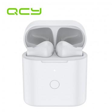 Безжични Слушалки QCY T7 с тъч контрол, Bluetooth 5.1, Pop-up App, Влагоустойчиви, С Powerbank, Бели