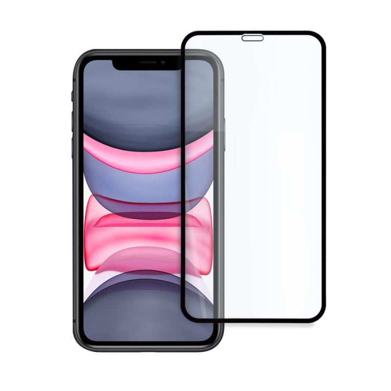 9D цялостен стъклен протектор за iPhone 11, Hicute, Цяло лепило, Черен