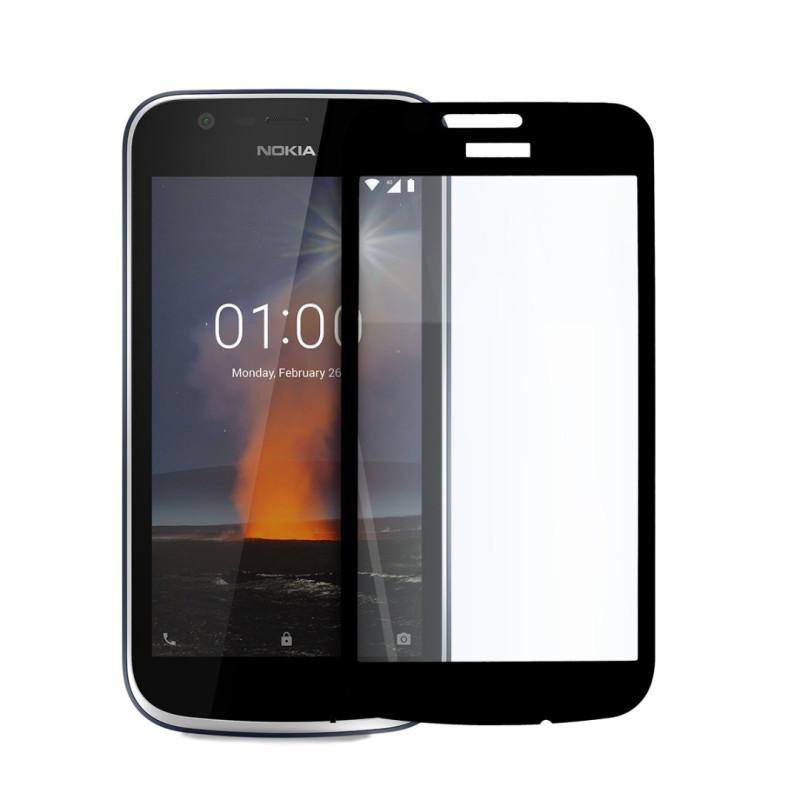 Иновативен 5D стъклен протектор за цял дисплей за Nokia 1, Hicute, Цяло лепило, Черен