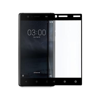 Иновативен 5D стъклен протектор за цял дисплей за Nokia 3, Hicute, Цяло лепило, Черен