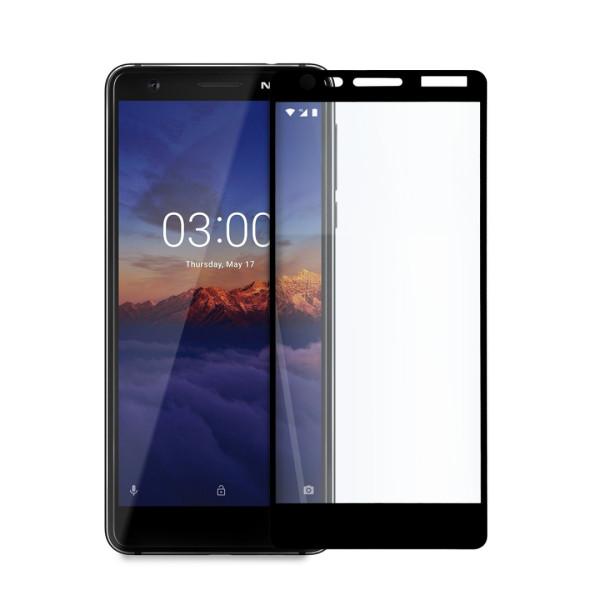 Иновативен 5D стъклен протектор за цял дисплей за Nokia 3.1., Hicute, Цяло лепило, Черен