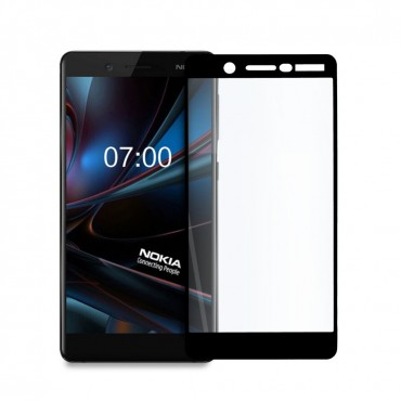 Иновативен 5D стъклен протектор за цял дисплей за Nokia 7, Hicute, Цяло лепило, Черен