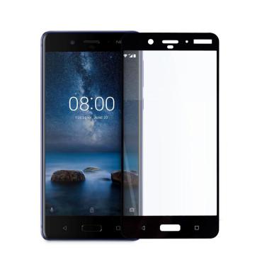 Иновативен 5D стъклен протектор за цял дисплей за Nokia 8, Hicute, Цяло лепило, Черен