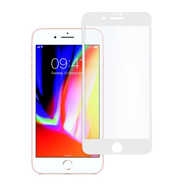 9D цялостен стъклен протектор за iPhone 8, Hicute, Цяло лепило, Бял