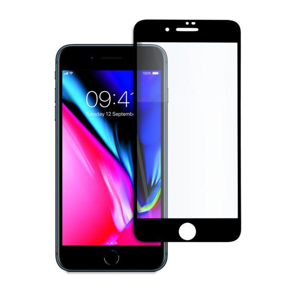9D цялостен стъклен протектор за iPhone 8, Tech Armor, Цяло лепило, Черен