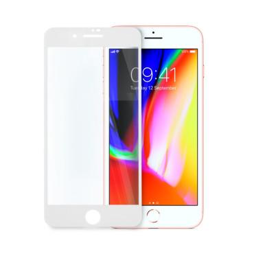 9D цялостен стъклен протектор за iPhone 8 Plus, Hicute, Цяло лепило, Бял