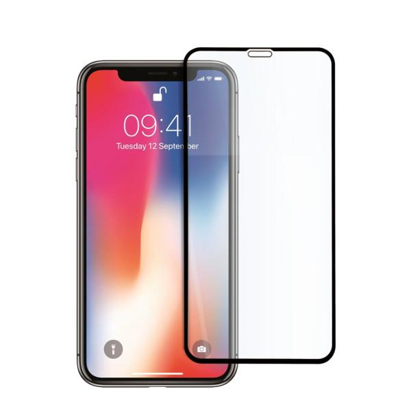 9D цялостен стъклен протектор за iPhone XS, Hicute, Цяло лепило, Черен