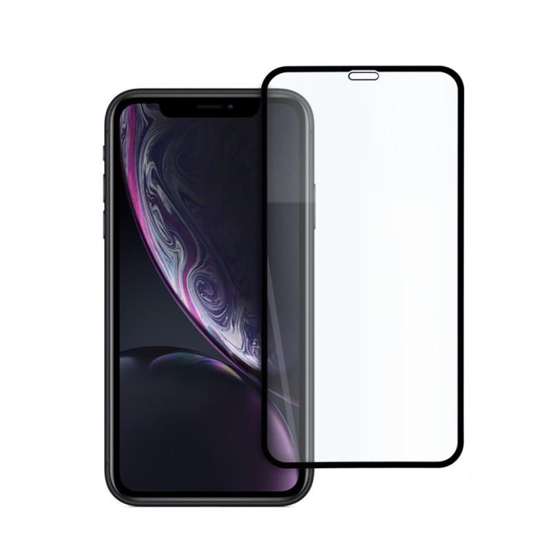 9D цялостен стъклен протектор за iPhone XR, Hicute, Цяло лепило, Черен