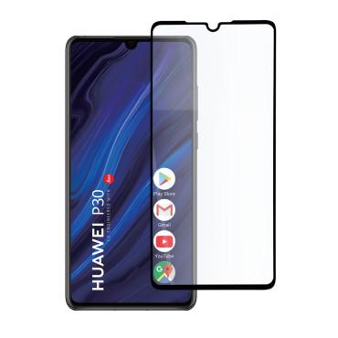 9D цялостен стъклен протектор за Huawei P30, Hicute, Цяло лепило, Черен