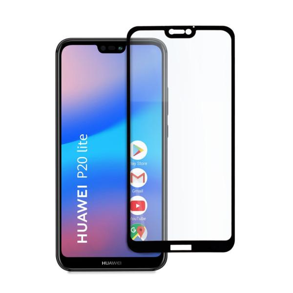 9D цялостен стъклен протектор за Huawei P20 Lite, Hicute, Цяло лепило, Черен