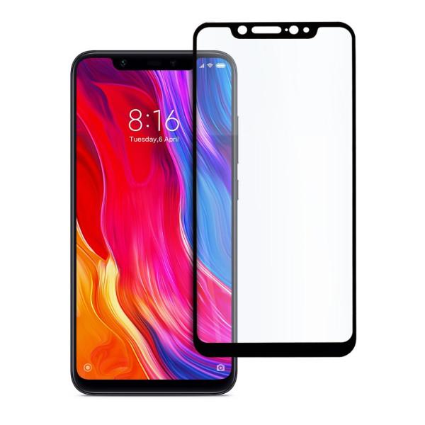 9D цялостен стъклен протектор за Xiaomi Mi 8, Hicute, Цяло лепило, Черен