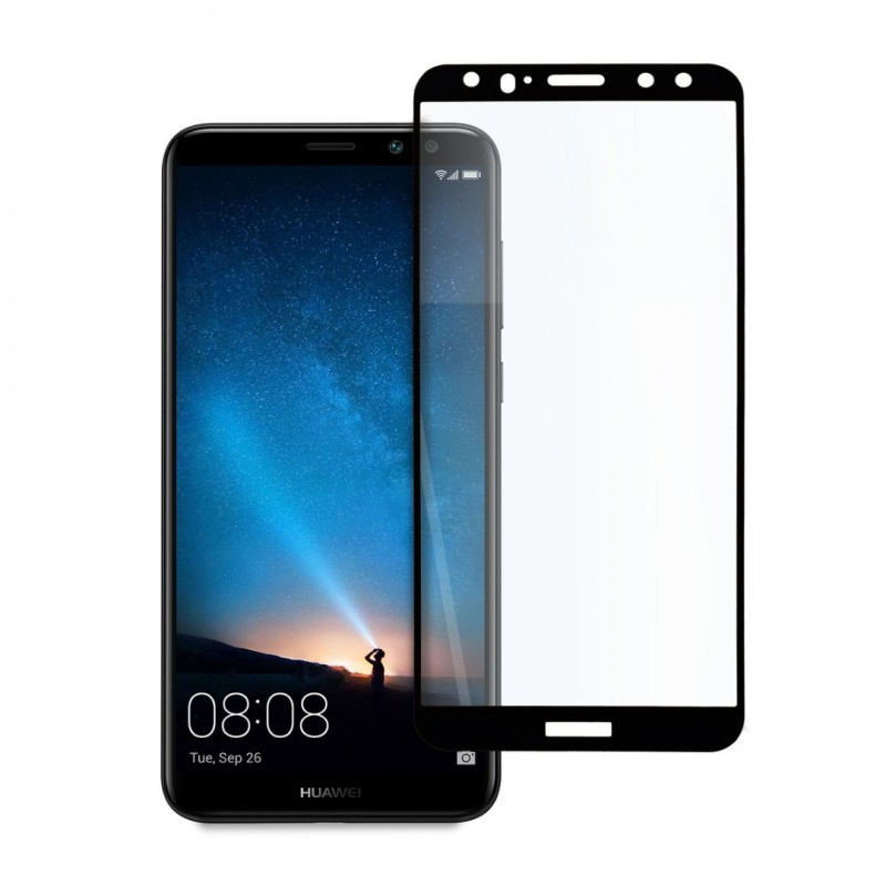 9D цялостен стъклен протектор за Huawei Mate 10 Lite, Hicute, Цяло лепило, Черен
