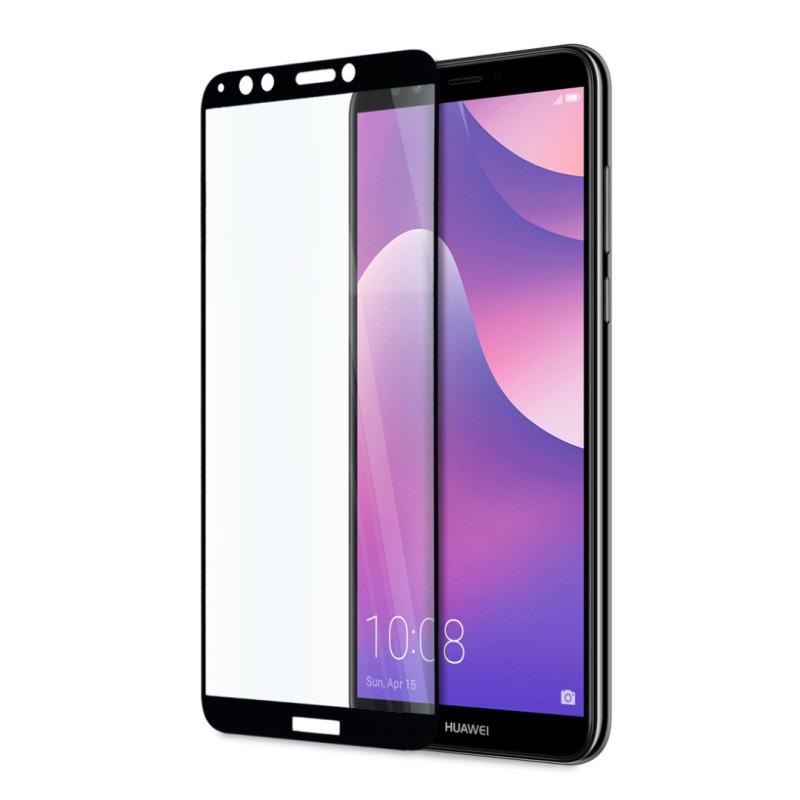 9D цялостен стъклен протектор за Huawei Y7 Prime (2018), Hicute, Цяло лепило, Черен