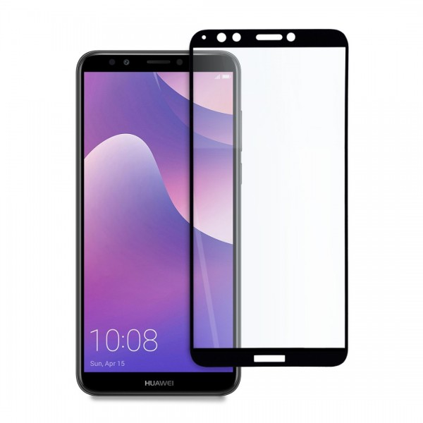 9D цялостен стъклен протектор за Huawei Y7 (2018), Hicute, Цяло лепило, Черен
