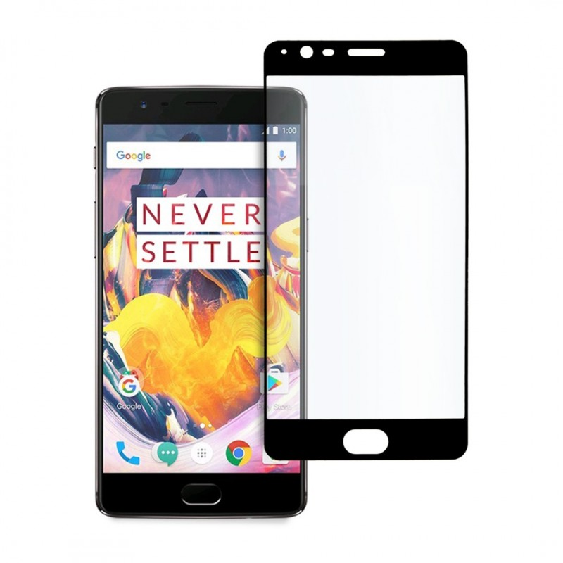 9D цялостен стъклен протектор за OnePlus 3T, Hicute, Цяло лепило, Черен