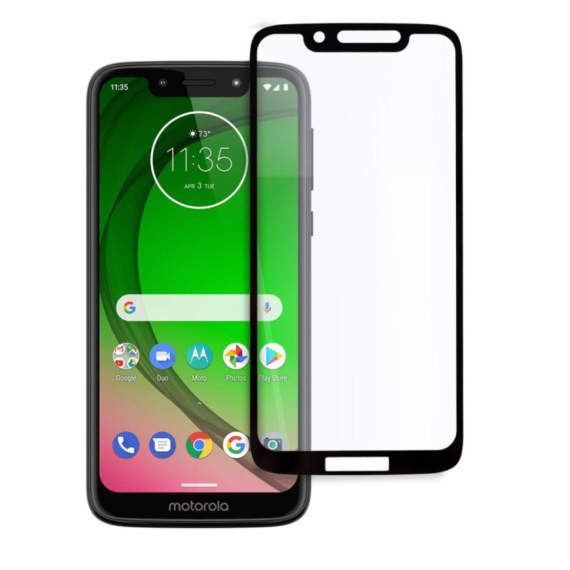 9D цялостен стъклен протектор за Motorola G7 Play, Hicute, Цяло лепило, Черен