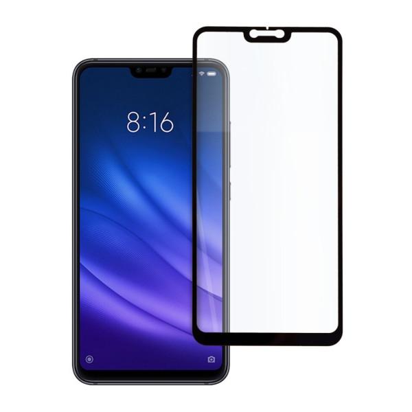 9D цялостен стъклен протектор за Xiaomi Mi 8 Lite, Hicute, Цяло лепило, Черен