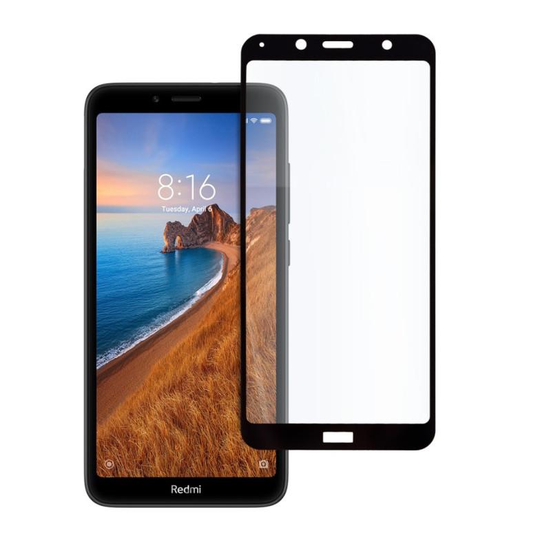9D цялостен стъклен протектор за Xiaomi Redmi 7A, Hicute, Цяло лепило, Черен