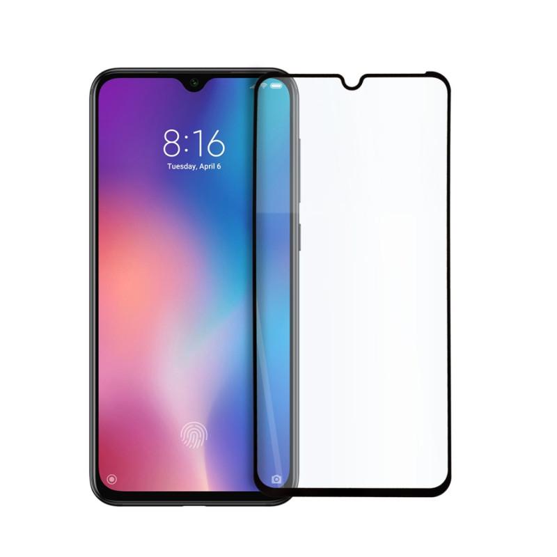 9D цялостен стъклен протектор за Xiaomi Mi 9 Lite, Hicute, Цяло лепило, Черен