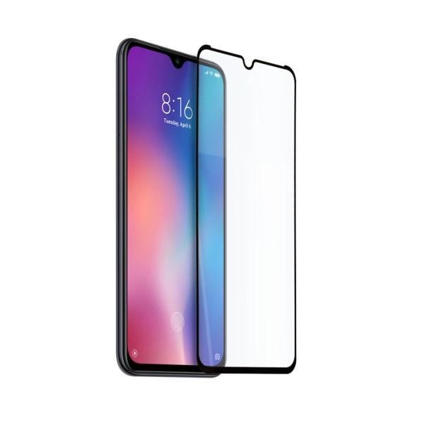 9D цялостен стъклен протектор за Xiaomi Mi 9 Pro, Hicute, Цяло лепило, Черен