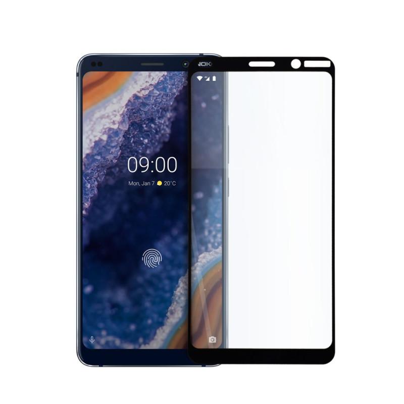 9D цялостен стъклен протектор за Nokia 9, Hicute, Цяло лепило, Черен