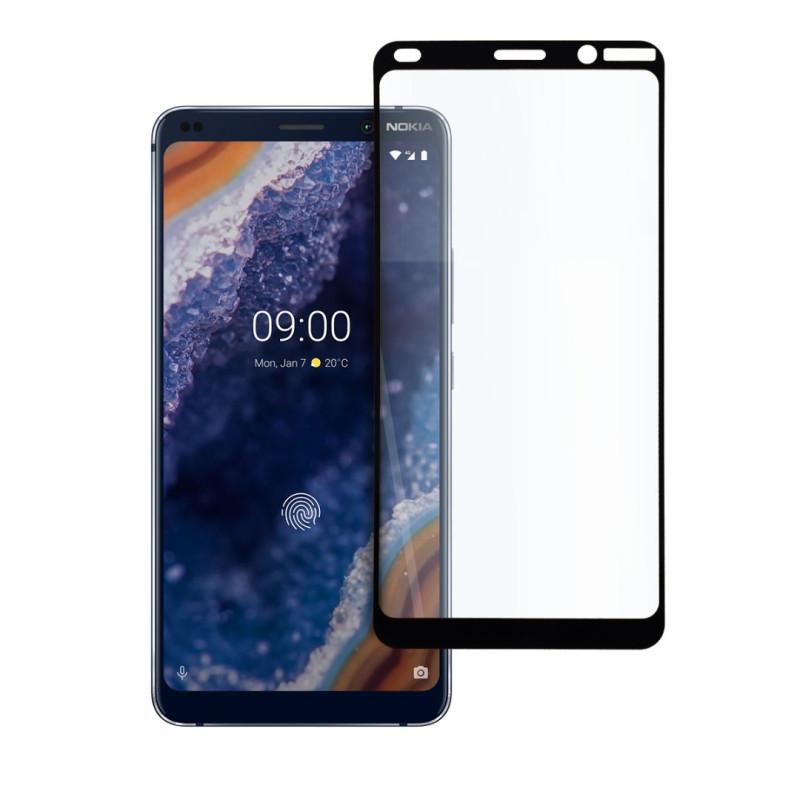9D цялостен стъклен протектор за Nokia 9 PureView, Hicute, Цяло лепило, Черен