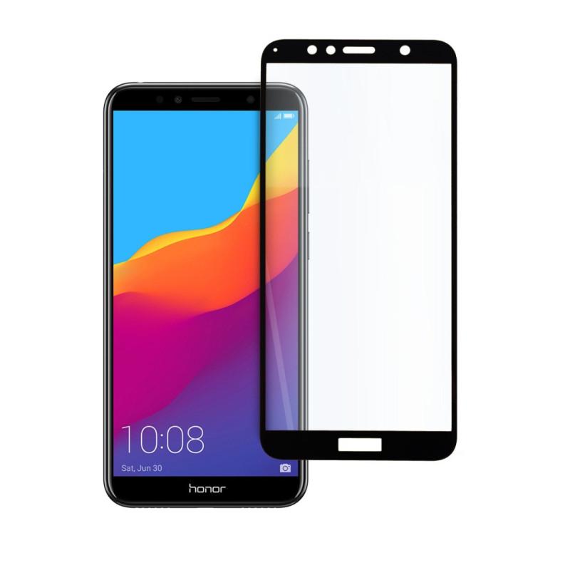 9D цялостен стъклен протектор за Huawei Honor 7A, Hicute, Цяло лепило, Черен